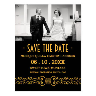 Ornate Gold Belt - Gold Black Save the Date Postcard