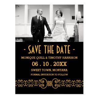 Ornate Gold Belt - Gold Black Save the Date Postcard