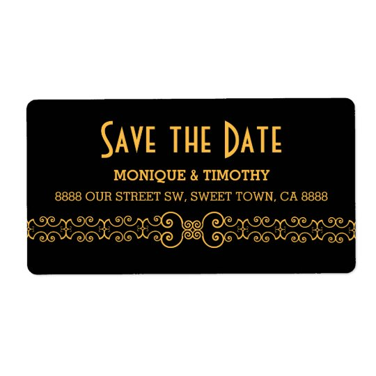 Ornate Gold Belt - Gold Black Save the Date Shipping Label