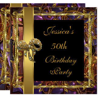 Ornate Gold Black 50th Birthday Elegant Invite 3