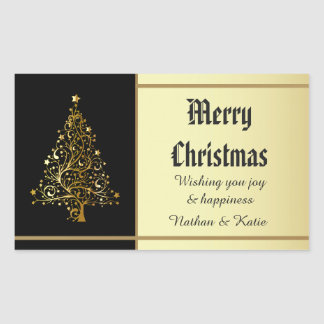 Ornate Gold Christmas Tree Rectangular Sticker