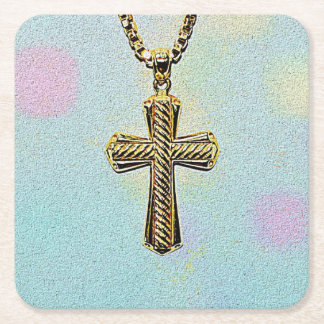 Ornate Gold Cross and Chain Square Paper Coaster