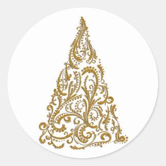 Ornate Gold Filigree Christmas Tree Round Sticker