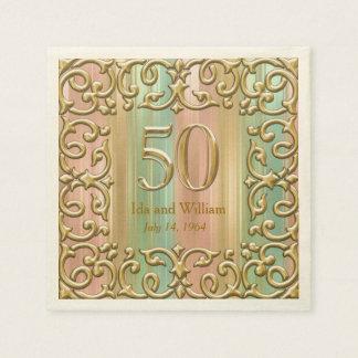 Ornate Gold Frame 50th Anniversary Disposable Serviette