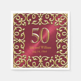 Ornate Gold Frame 50th Anniversary Paper Napkin