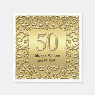 Ornate Gold Frame 50th Anniversary Paper Serviettes