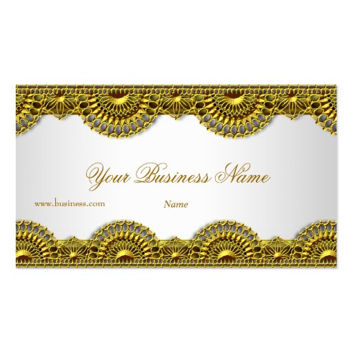 Ornate Gold Lace White Elegant Classy Business Cards