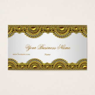 Ornate Gold Lace White Elegant Classy Business Card
