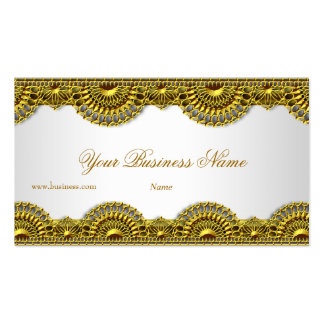 Ornate Gold Lace White Elegant Classy Pack Of Standard Business Cards