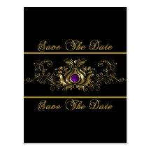 Ornate Gold Swirls Purple Jewel Save The Date