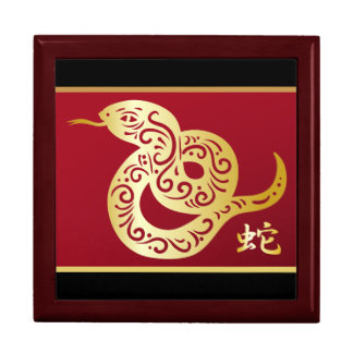 Ornate Golden Chinese Snake on Black and Red Large Square Gift Box