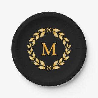 Ornate Golden Leaved Roman Wreath Monogram - Black 7 Inch Paper Plate