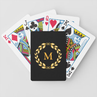 Ornate Golden Leaved Roman Wreath Monogram - Black Bicycle Playing Cards