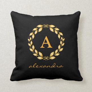 Ornate Golden Leaved Roman Wreath Monogram - Black Cushion