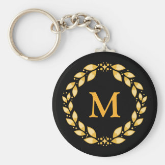 Ornate Golden Leaved Roman Wreath Monogram - Black Key Ring