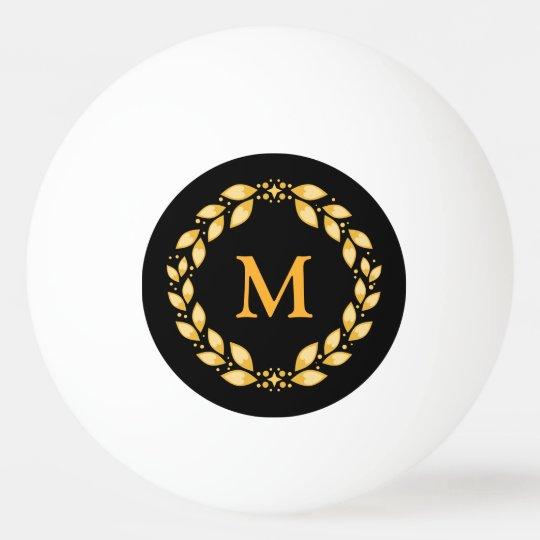 Ornate Golden Leaved Roman Wreath Monogram - Black