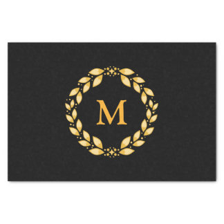 Ornate Golden Leaved Roman Wreath Monogram - Black Tissue Paper