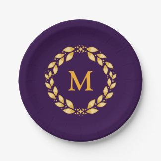 Ornate Golden Leaved Roman Wreath Monogram -Purple 7 Inch Paper Plate