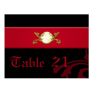 Ornate Gothic Table Number Cards in Black and Red Post Card