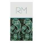 Ornate Green And Black Paisley Lace-Template Business Card Templates