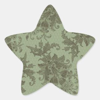 ornate green floral damask star sticker