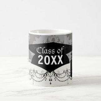 ornate grey diamond damask design graduation classic white coffee mug