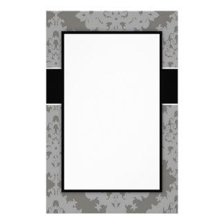 ornate grey diamond damask design pattern customised stationery