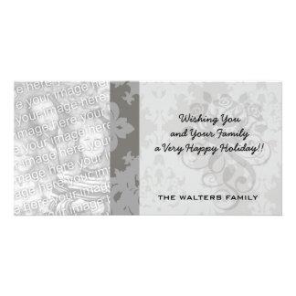 ornate grey diamond damask design personalised photo card
