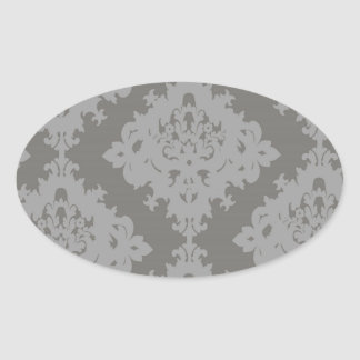 ornate grey diamond damask design oval sticker
