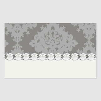 ornate grey diamond damask design sticker