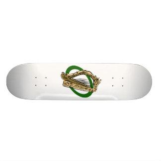 Ornate harp graphic green ring.png skate board decks