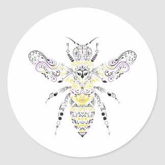 ornate honey bee round sticker