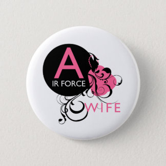 Ornate Initial - Air Force Wife 6 Cm Round Badge