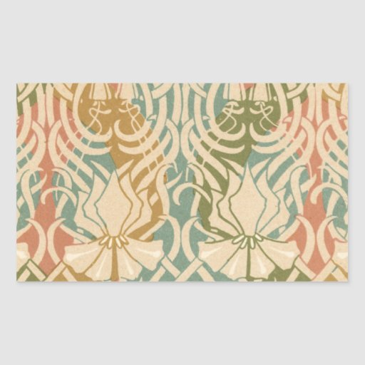 ornate intricate art nouveau lovely floral rectangular stickers