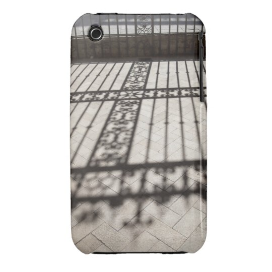 ornate iron fencing shadow on tile floor iPhone 3 cover