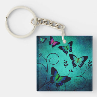 Ornate Jewel Butterflies Key Ring