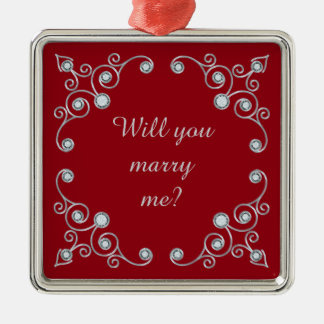Ornate Jewel Marriage Proposal Silver-Colored Square Decoration