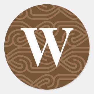 Ornate Knotwork Monogram - Letter W Classic Round Sticker