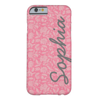 Ornate Lace Flowers Pink Custom Name iPhone 6 case Barely There iPhone 6 Case