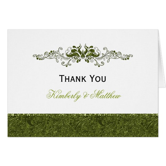 Ornate Lime Swirls Thank You Card