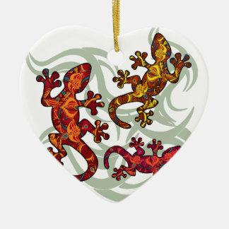 Ornate lizards ceramic heart decoration
