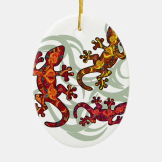Ornate lizards ceramic oval decoration