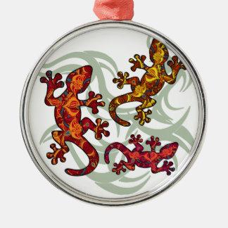 Ornate lizards Silver-Colored round decoration