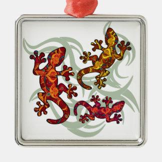 Ornate lizards Silver-Colored square decoration