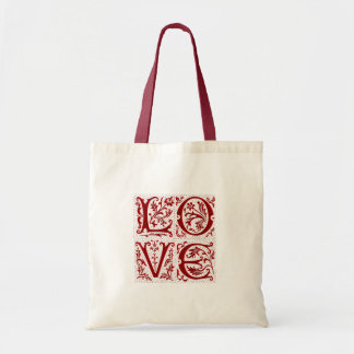 Ornate Love Text in Red Budget Tote Bag