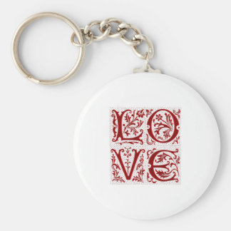 Ornate Love Text in Red Basic Round Button Key Ring