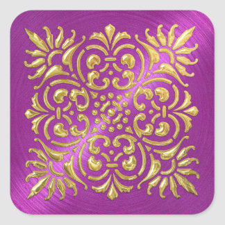 Ornate Magenta and Gold Embossed Look Sticker