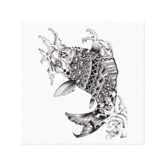 Ornate Mandala Style Koi Design - Canvas print