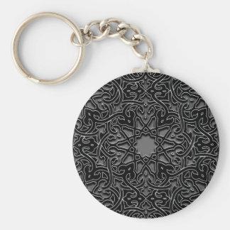 Ornate monochrome decoration basic round button key ring