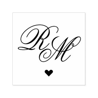 Ornate Monogram Heart Self-inking Stamp